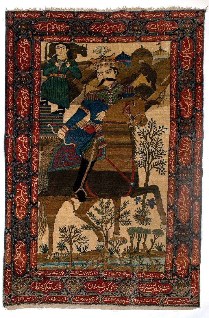 A Fine Antique Kashan Mohtasham Pictorial Rug
