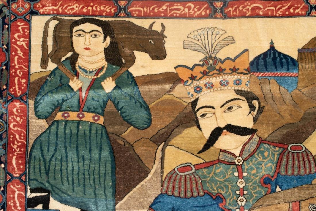 A Fine Antique Kashan Mohtasham Pictorial Rug - 2
