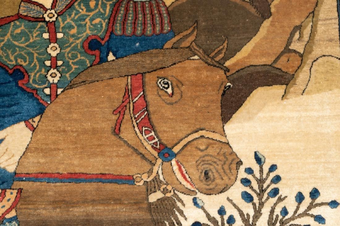 A Fine Antique Kashan Mohtasham Pictorial Rug - 3