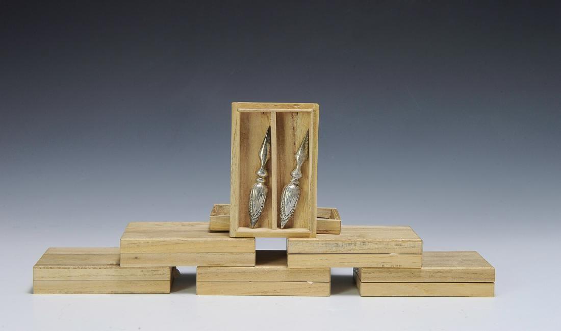 Six Boxes Sterling Corncob Holders