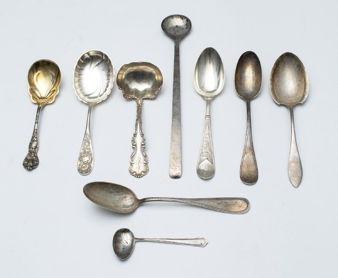 Nine Sterling Silver Serving Spoons