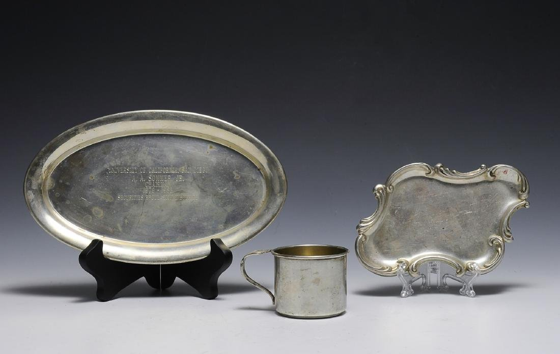 Two Sterling Trays & Sterling Cup
