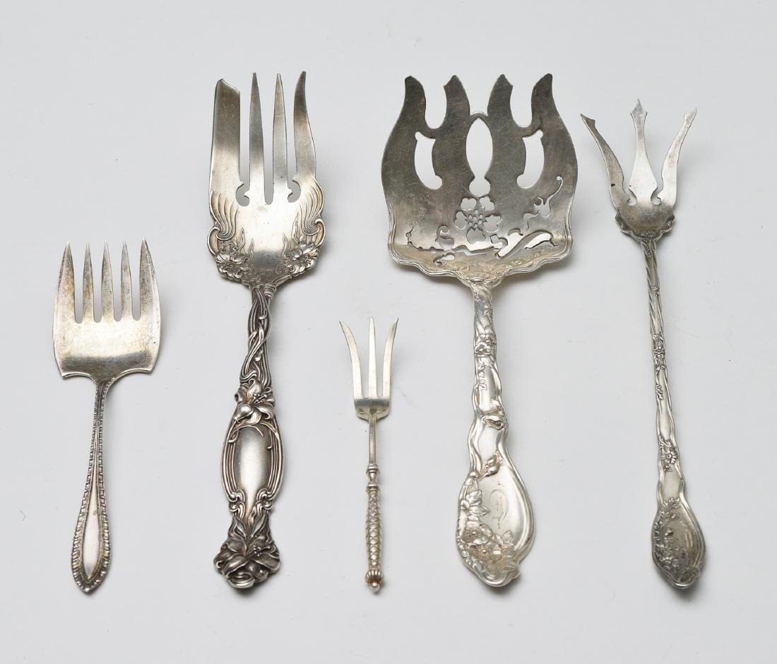 Five Sterling Silver Serving Forks