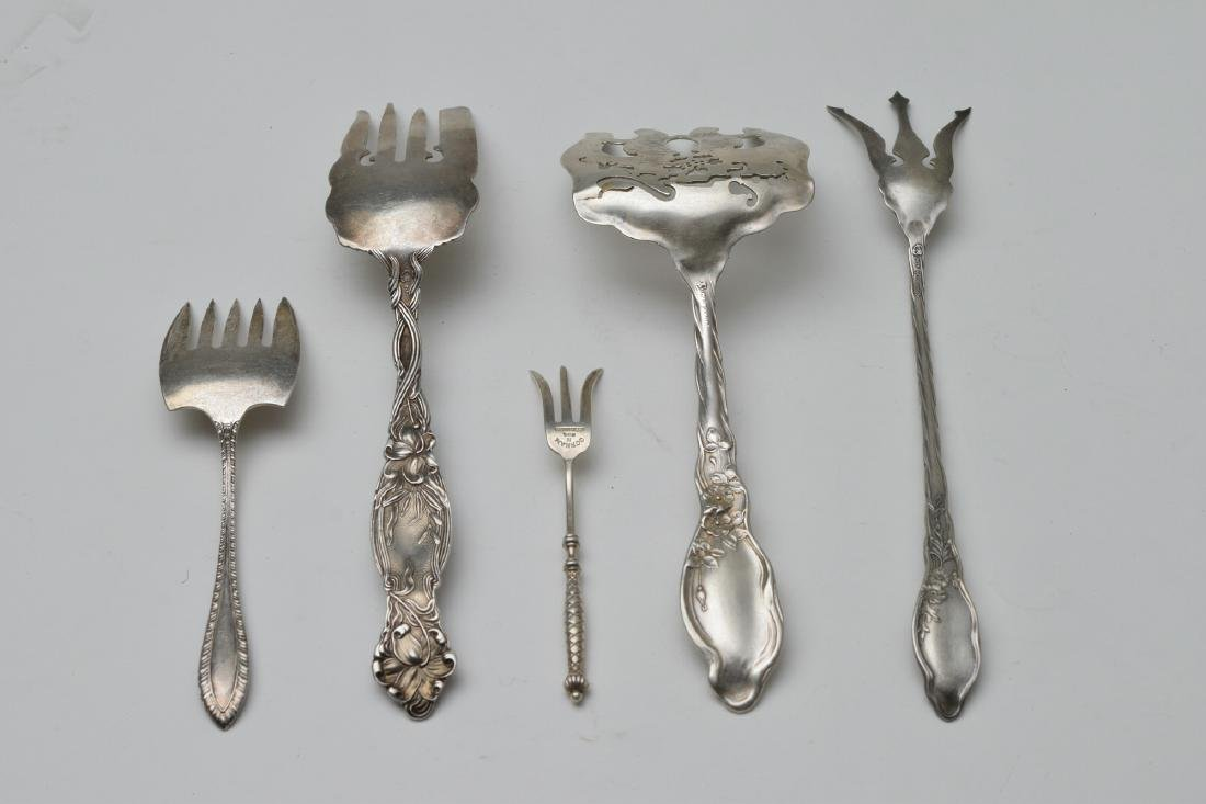 Five Sterling Silver Serving Forks - 2