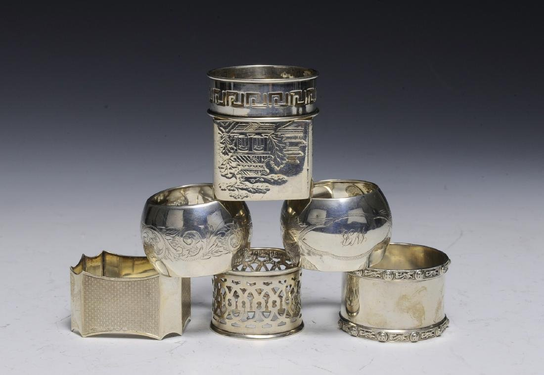 Seven English Sterling Silver Napkin Rings