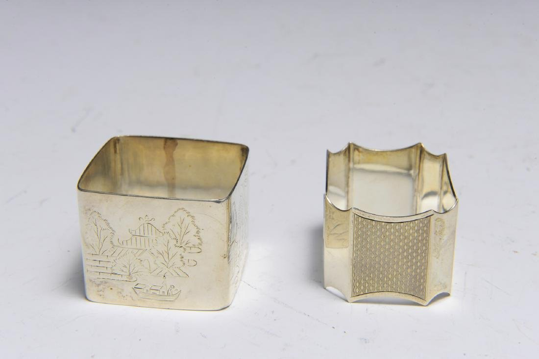 Seven English Sterling Silver Napkin Rings - 5