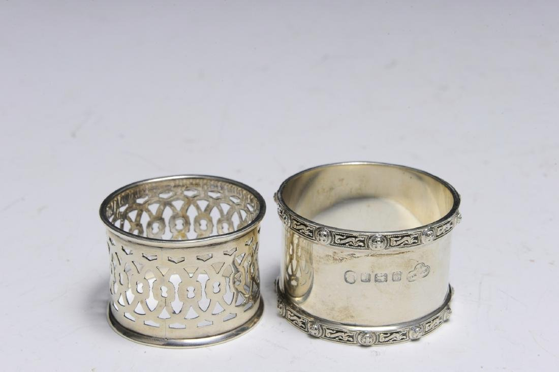 Seven English Sterling Silver Napkin Rings - 8
