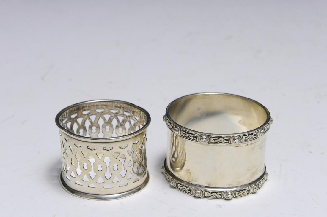 Seven English Sterling Silver Napkin Rings - 9