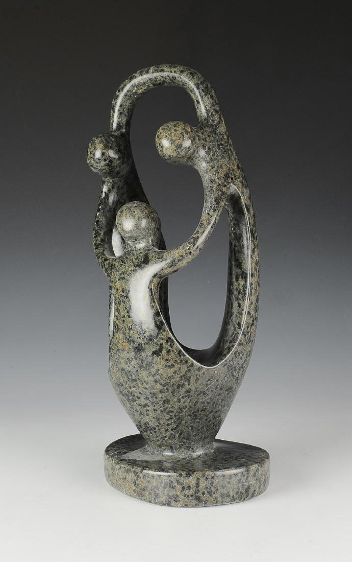Soapstone Abstract Sculpture of Three Figures