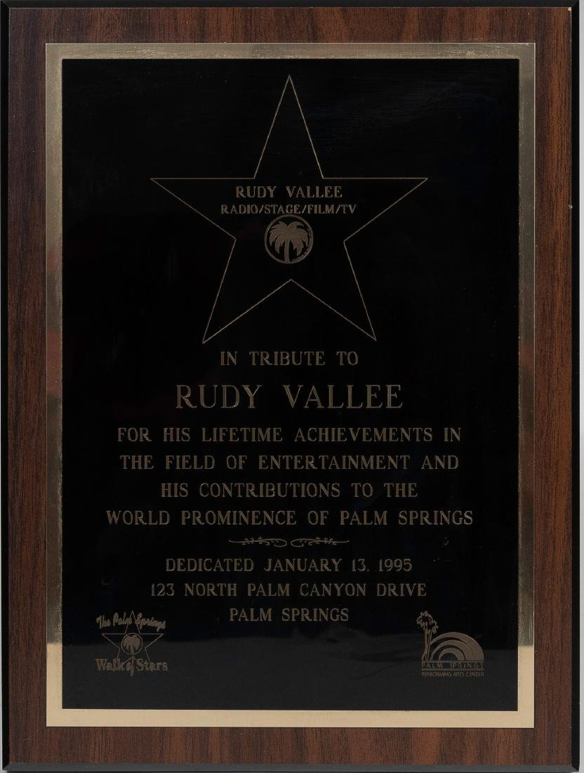 Tribute Plaque to Rudy Vallee from Palm Springs