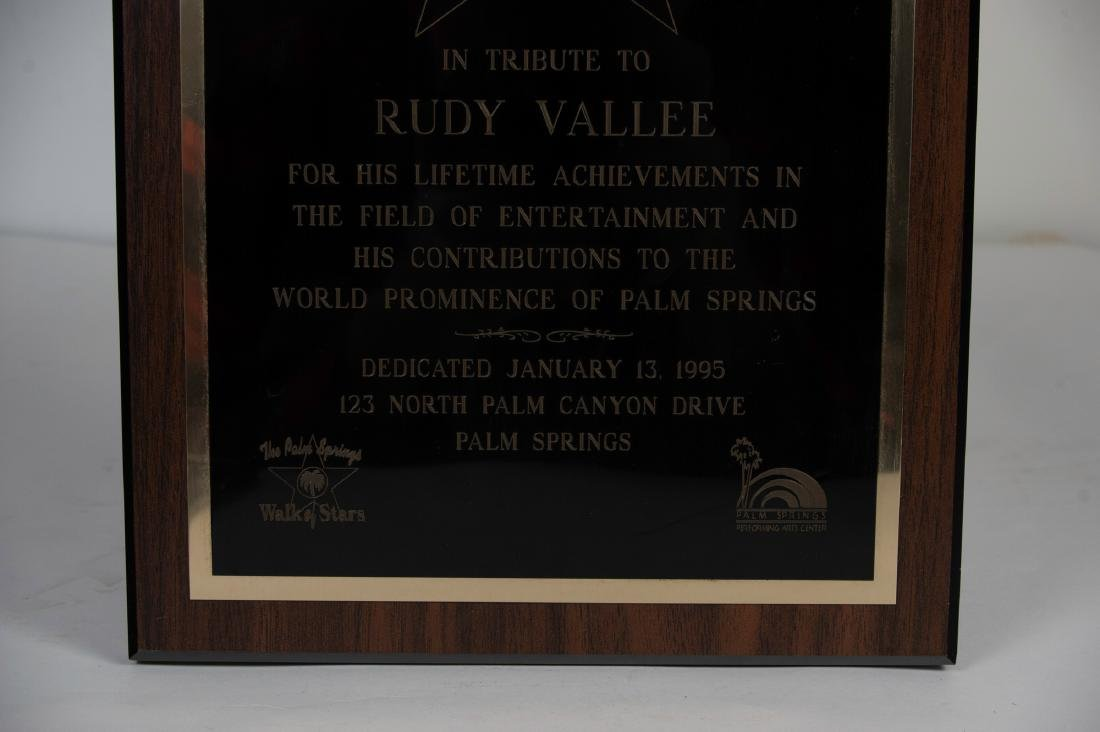 Tribute Plaque to Rudy Vallee from Palm Springs - 3