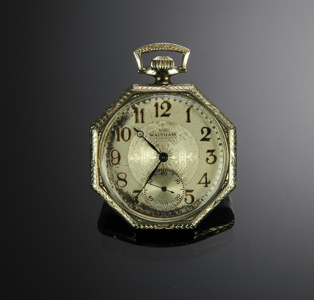 A 14K White Gold Art Deco Waltham Pocket Watch
