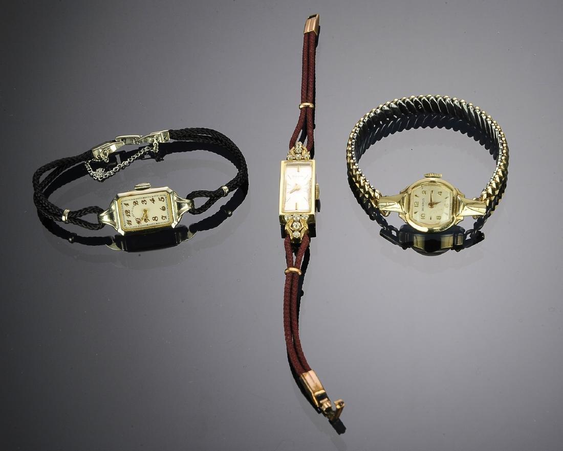 Two 14K Gold Art Deco Ladies Wrist Watches (3)