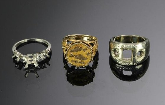 Two 14K Gold & a Platinum Ring