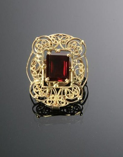 14K Gold Filigree and Ruby Brooch - Pendant