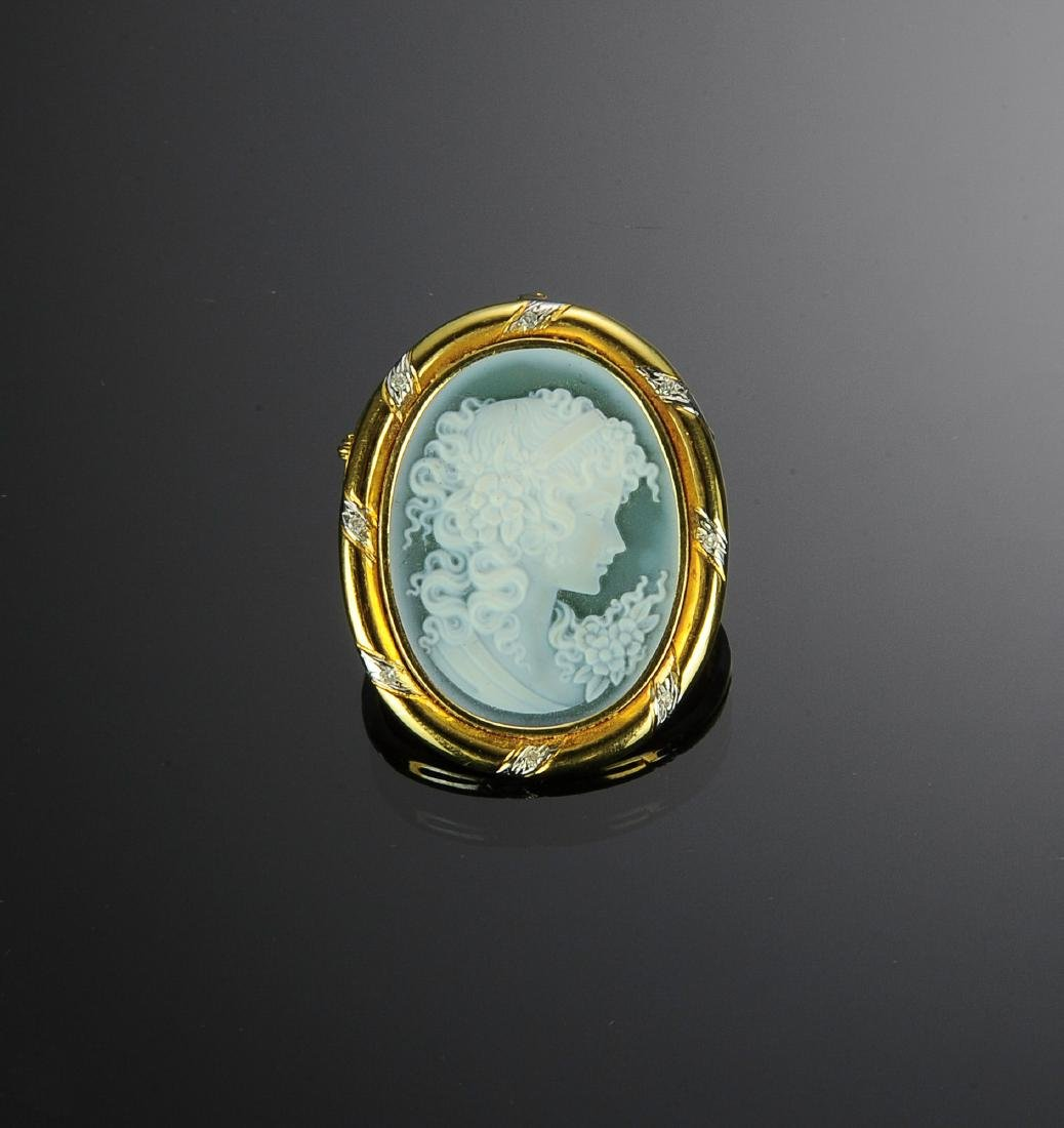 18K Gold and Diamond Carved Cameo