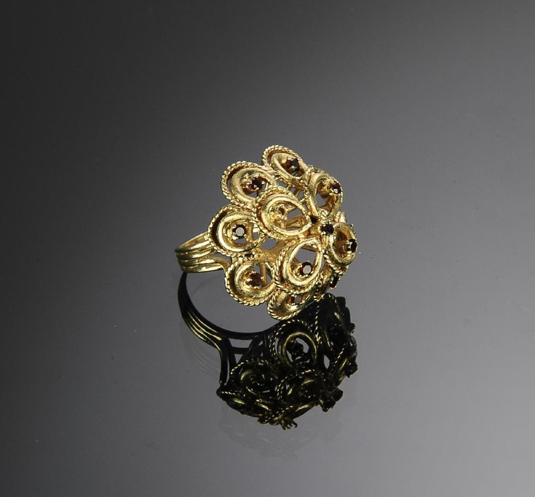 14K Gold & Garnet Victorian Ring