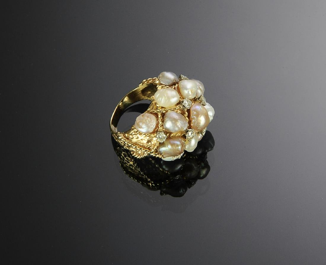 14K Gold Ring with Diamonds and Pearls