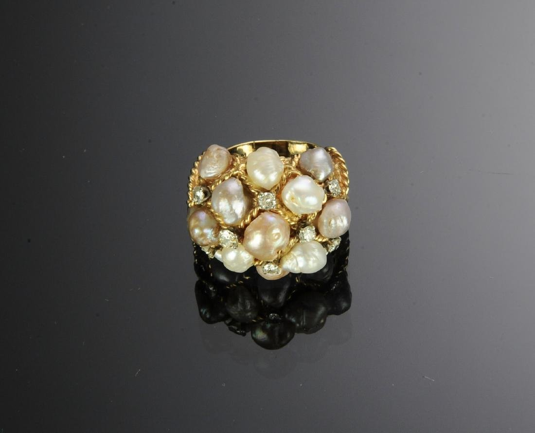 14K Gold Ring with Diamonds and Pearls - 2