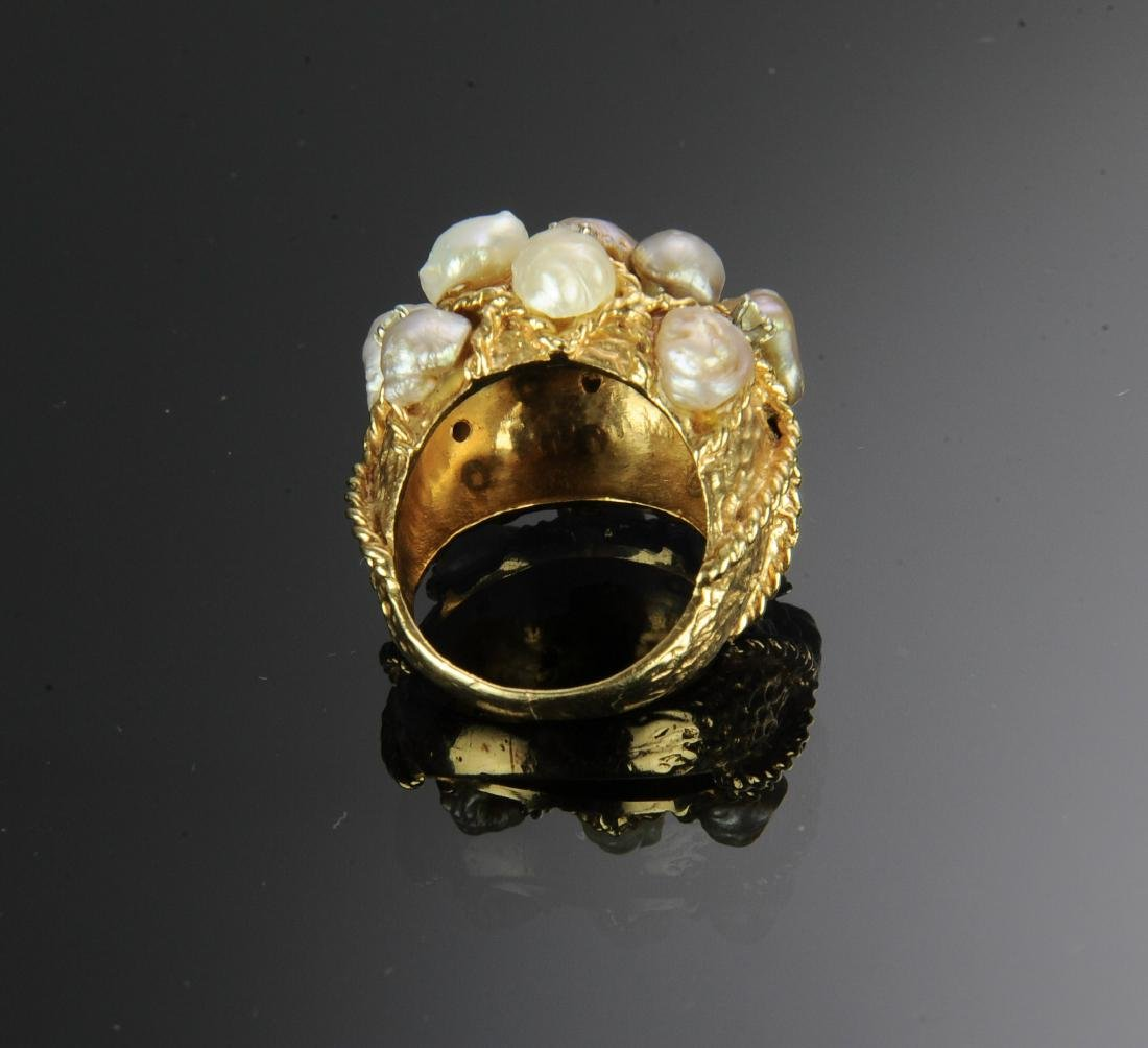 14K Gold Ring with Diamonds and Pearls - 4