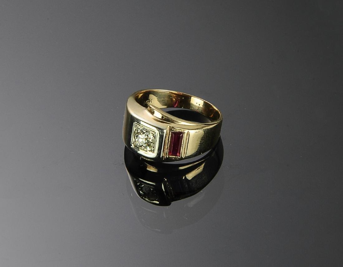 14K Gold, Diamond & Ruby Ring