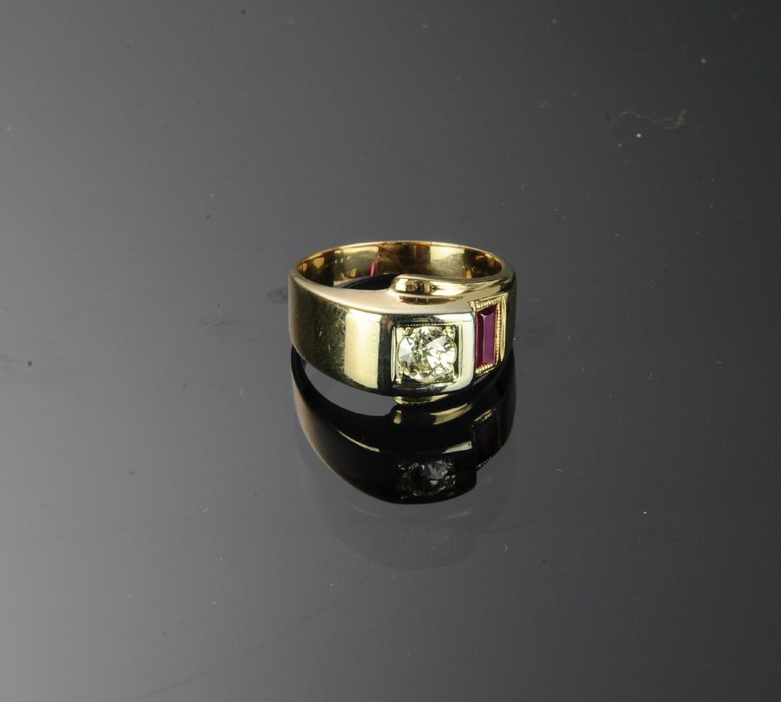 14K Gold, Diamond & Ruby Ring - 2