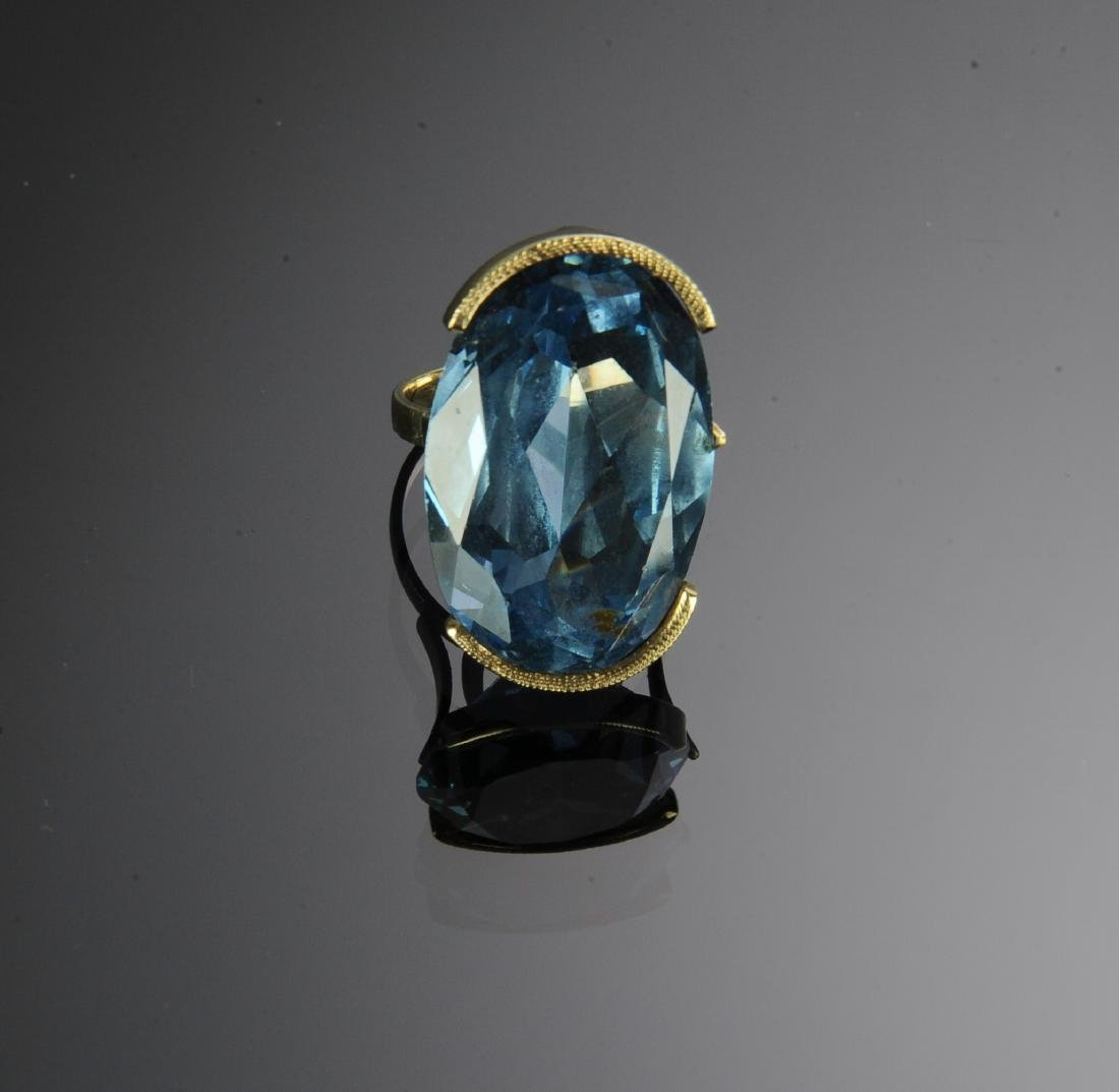 A 14K Gold Ring with 39 Carat Blue Topaz - 2