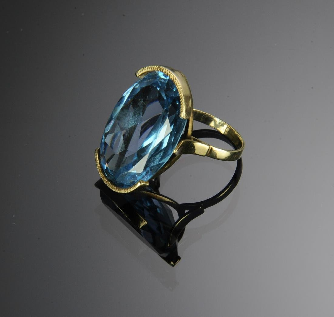 A 14K Gold Ring with 39 Carat Blue Topaz - 3