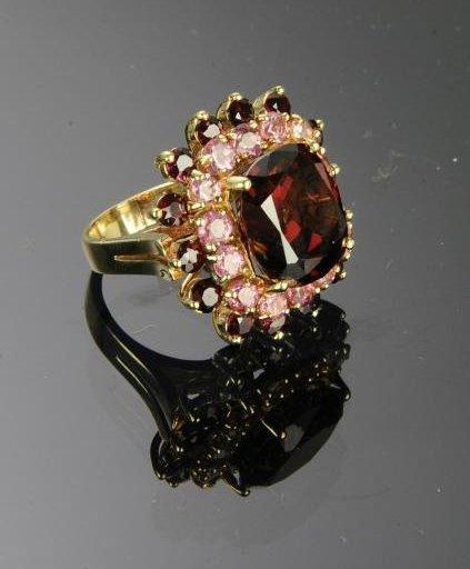 14K Gold Garnet & Morganite Ring