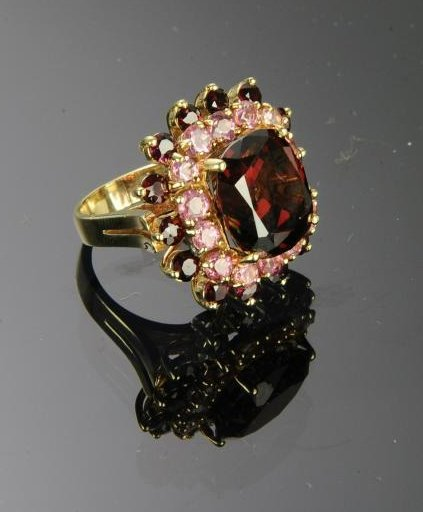14K Gold Garnet & Morganite Ring