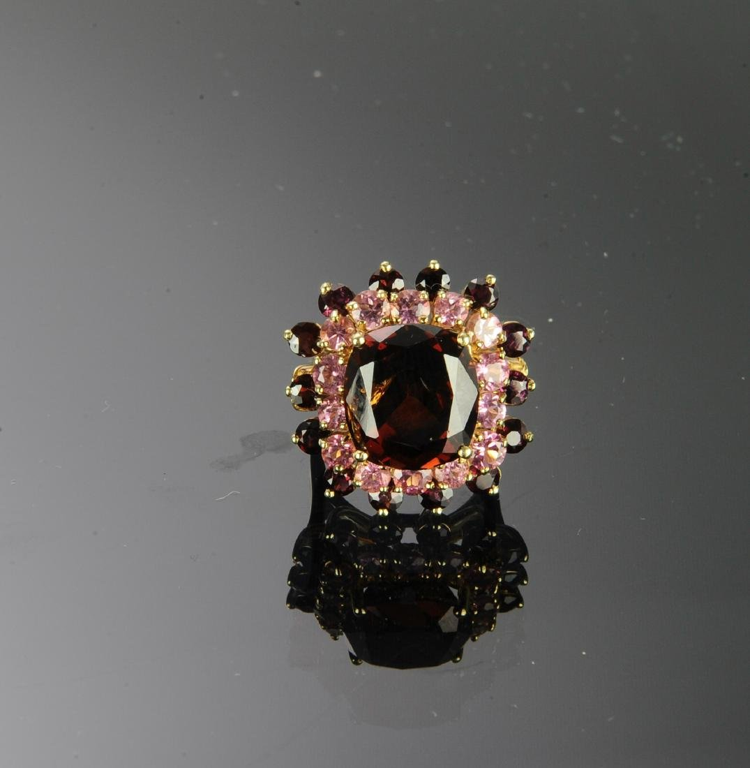 14K Gold Garnet & Morganite Ring - 2