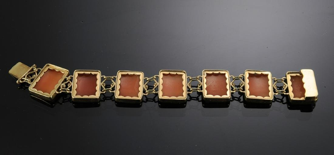 14K Gold Three Graces Shell Cameo Bracelet - 3