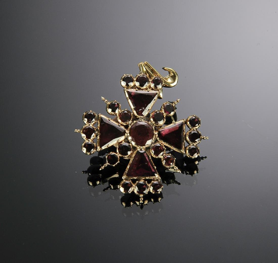 Antique 14K Gold Pink Tourmaline Brooch - Pendant