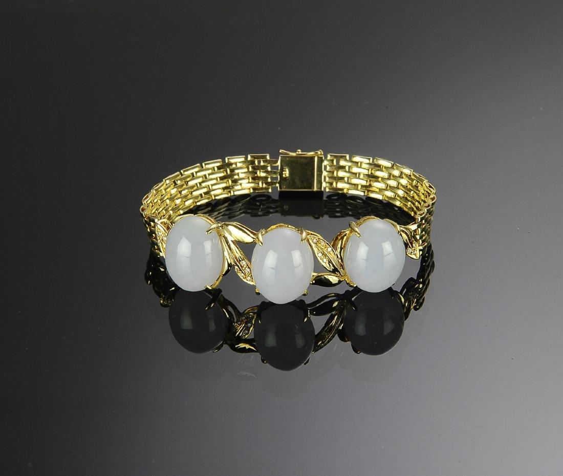 18K Gold, Lavender Jade and Diamond Bracelet