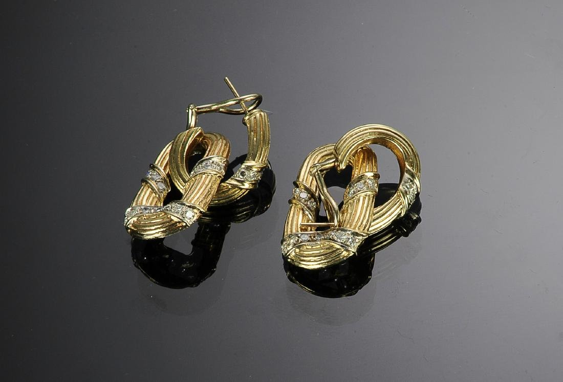 14K Gold & Diamond Double Link Earrings