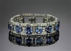 Exquisite Art Deco Diamond  Sapphire Bracelet