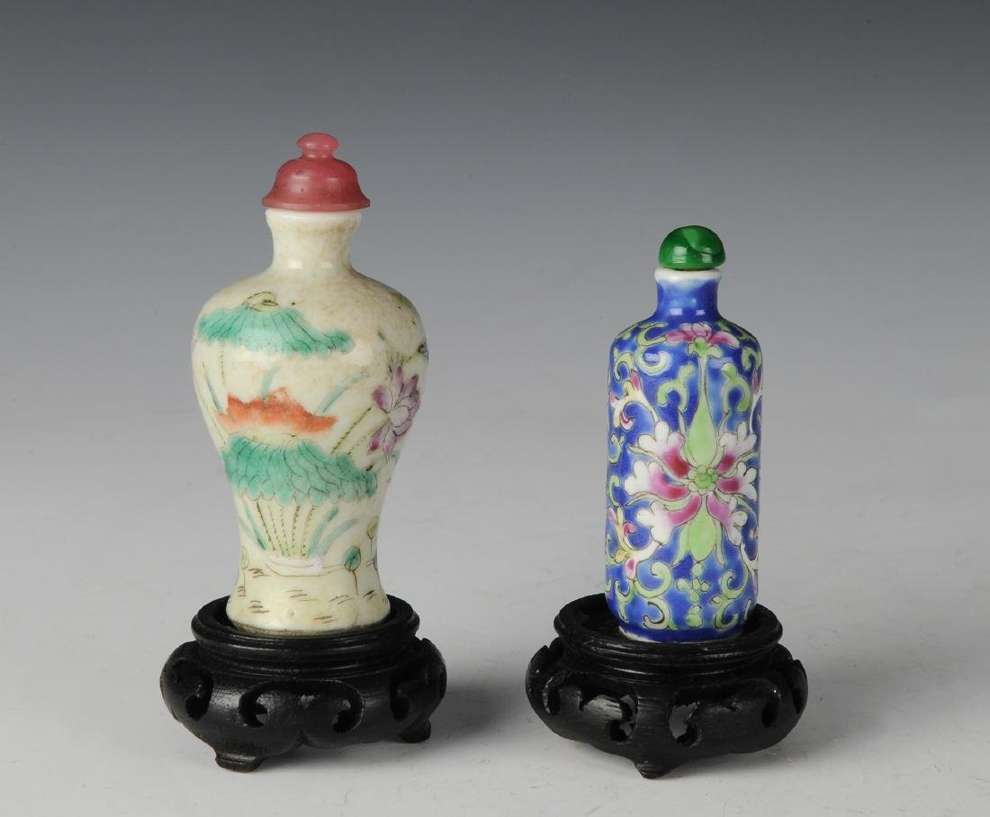 Two Chinese Famille Rose Snuff Bottles, 19th C
