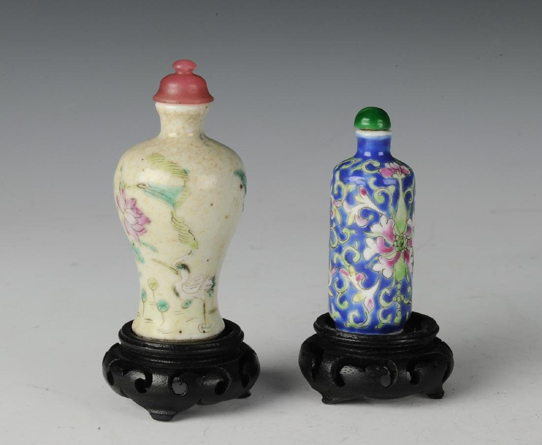 Two Chinese Famille Rose Snuff Bottles, 19th C - 3
