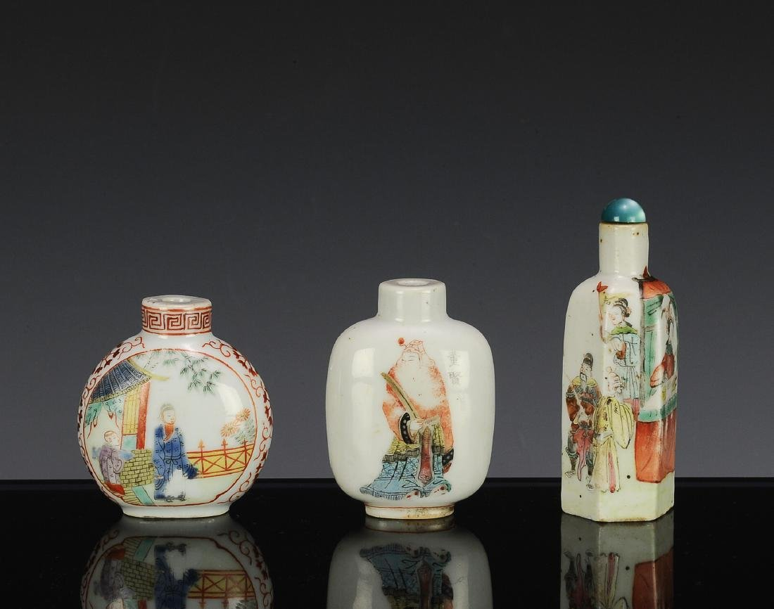 3 Chinese Famille Rose Snuff Bottles, 18th - 19th C