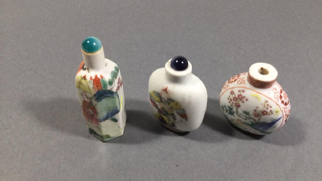 3 Chinese Famille Rose Snuff Bottles, 18th - 19th C - 2