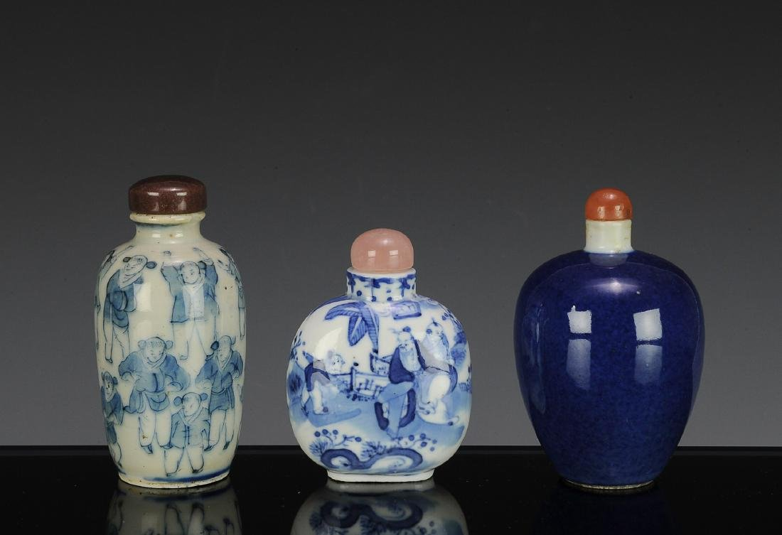Group of 3 Chinese Snuff Bottles, 19th Century