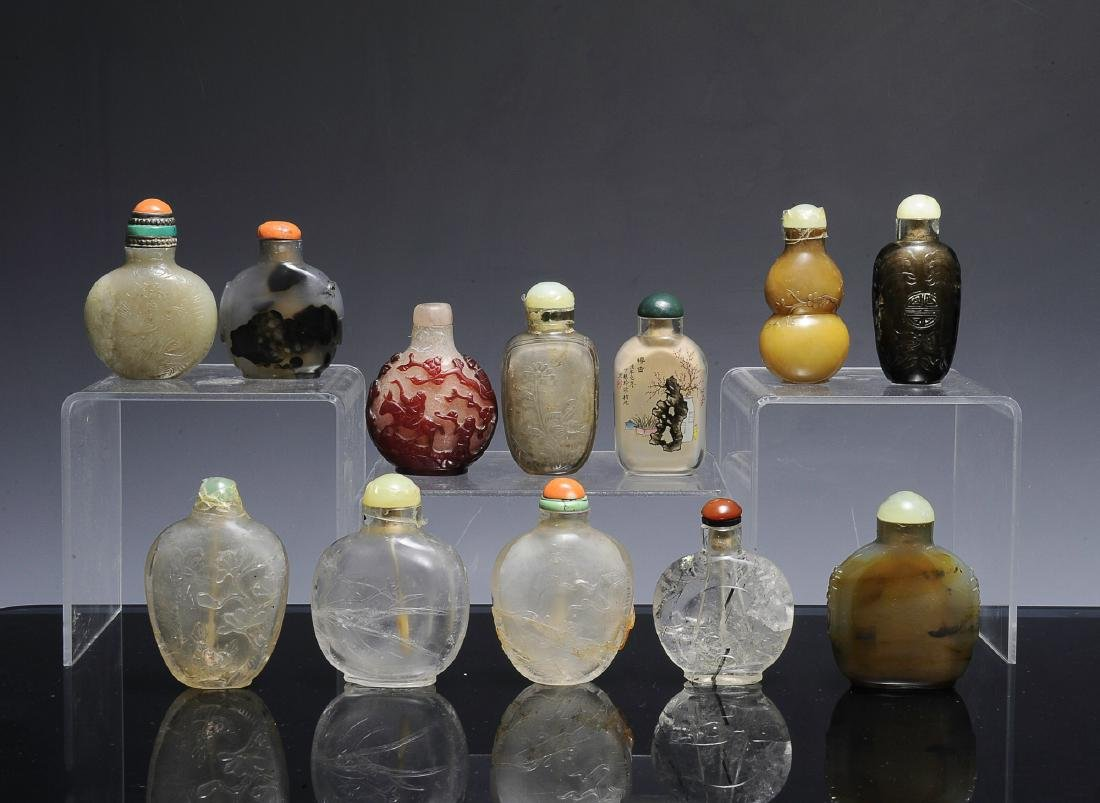 Group of 12 Chinese Snuff Bottles, 18th - 19th C