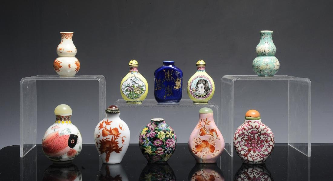 Group of 10 Chinese Snuff Bottles