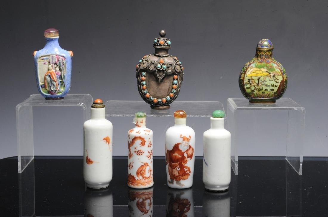7 Snuff Bottles in Porcelain, Cloisonne, & Pewter