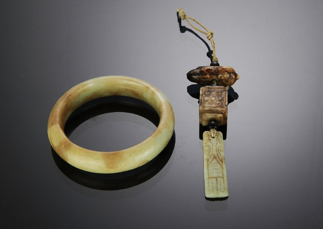 Chinese Jade Bracelet & Toggle Pieces, Ming - Qing