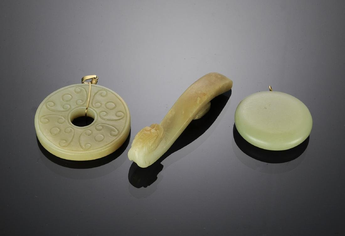 Group of 3 Chinese Jade Pieces, 18th - 19th C