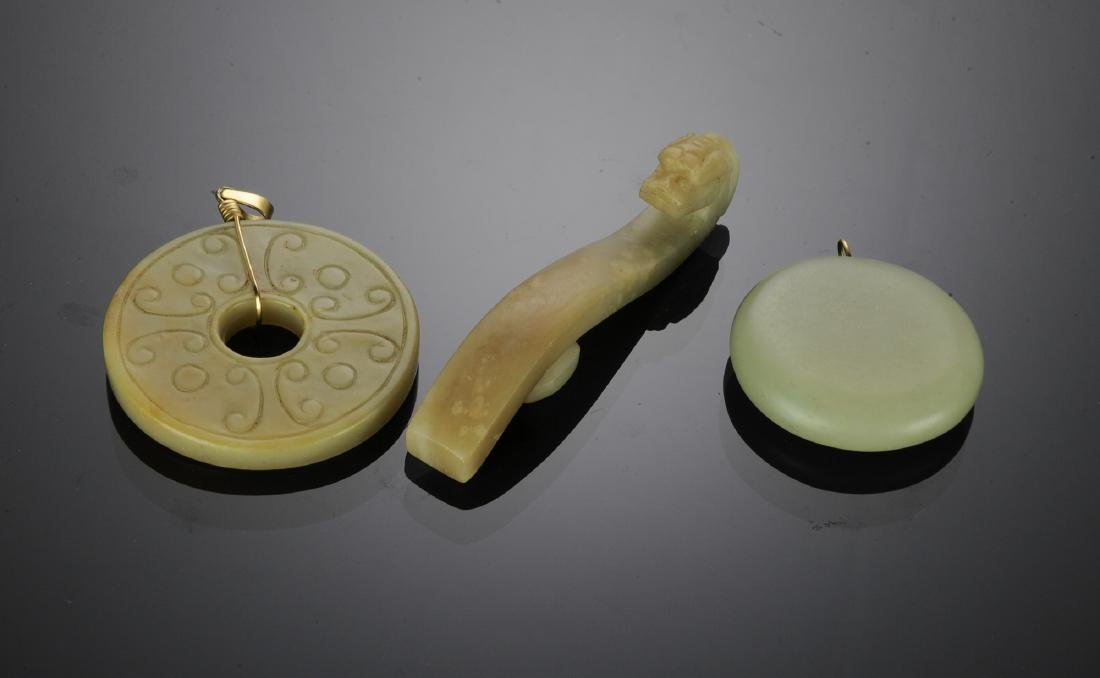 Group of 3 Chinese Jade Pieces, 18th - 19th C - 2