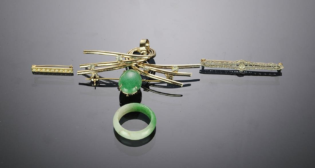 Chinese Brooch, Tie Clip, & Jade Ring, 20th C