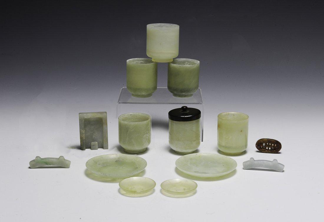 Set of 13 Chinese Jade & Jadeite Carvings