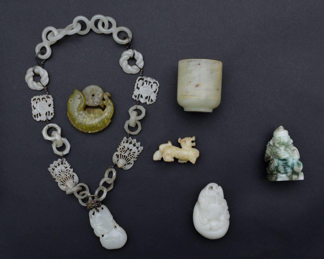 6 Chinese Jade, Jadeite & Glass Carvings 19 - 20th C